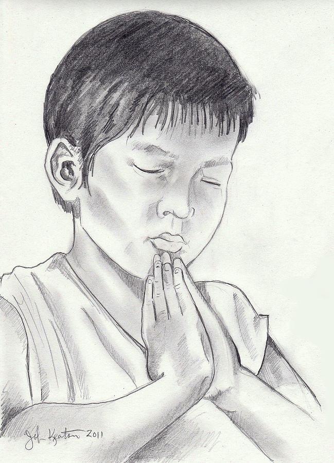 Children Drawing - A Childs Prayer by John Keaton