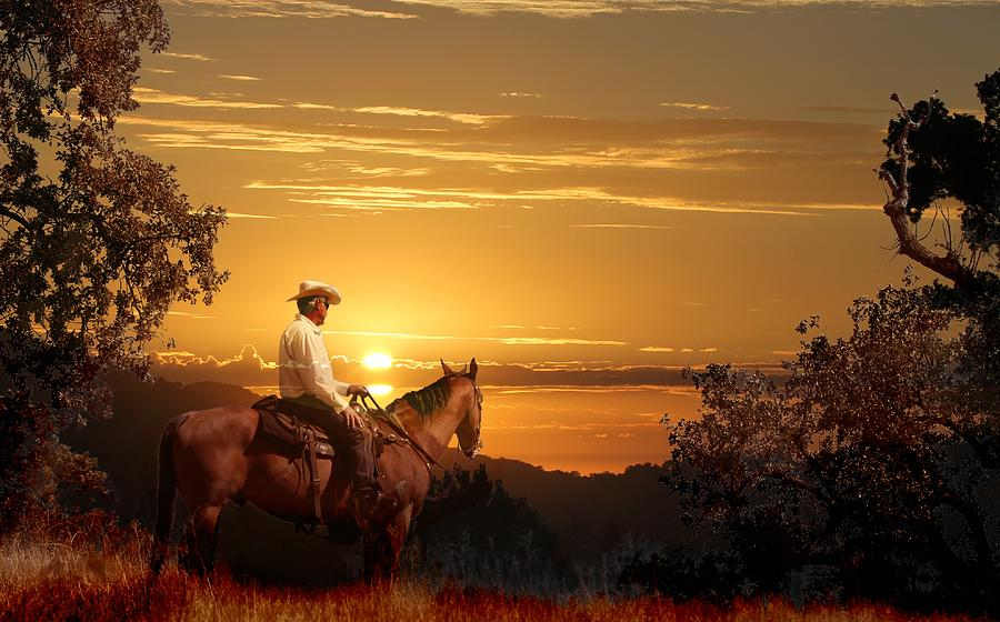 A Cowboy Riding On His Horse Into A Yellow Sunset Digital