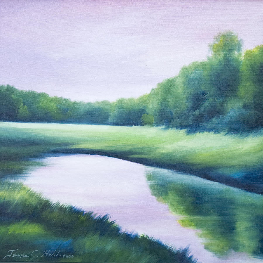 Nature; Lake; Sunset; Sunrise; Serene; Forest; Trees; Water; Ripples; Clearing; Lagoon; James Christopher Hill; Jameshillgallery.com; Foliage; Sky; Realism; Oils; Green; Tree; Blue; Pink; Pond; Lake Painting - A Day In The Life 1 by James Christopher Hill