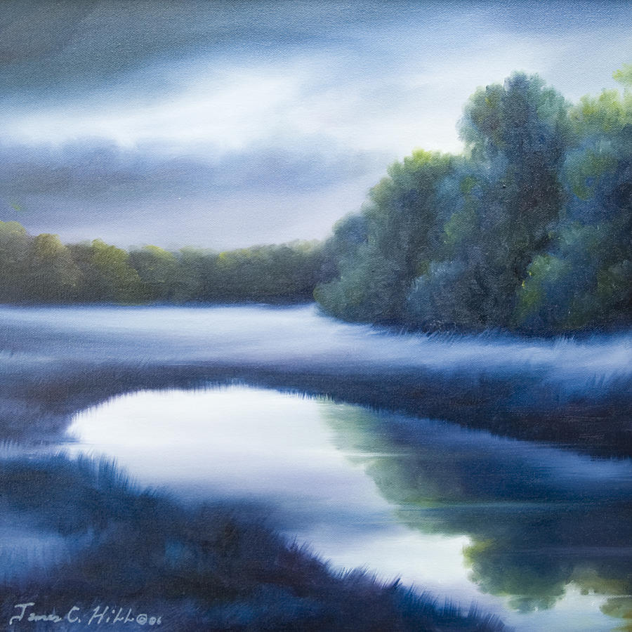 Nature; Lake; Sunset; Sunrise; Serene; Forest; Trees; Water; Ripples; Clearing; Lagoon; James Christopher Hill; Jameshillgallery.com; Foliage; Sky; Realism; Oils; Green; Tree; Blue; Pink; Pond; Lake Painting - A Day In The Life 4 by James Christopher Hill
