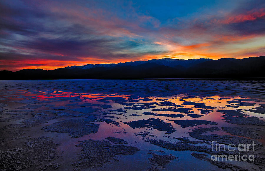 Inhospitable Photograph - A Death Valley Sunset In The Badwater Basin by Kim Michaels