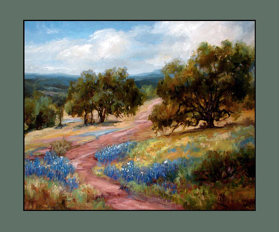 Texas Landscape Hill Country Bluebonnets Painting - A Few Bluebonnets by Lilli Pell