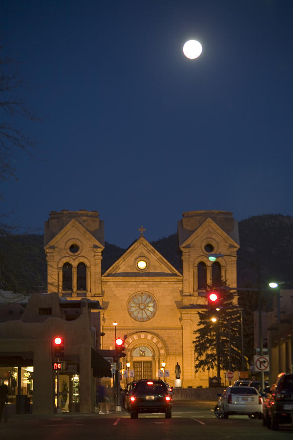 New Mexico Photograph - A Full Moon Rises Over  Cathedral by Stephen St. John