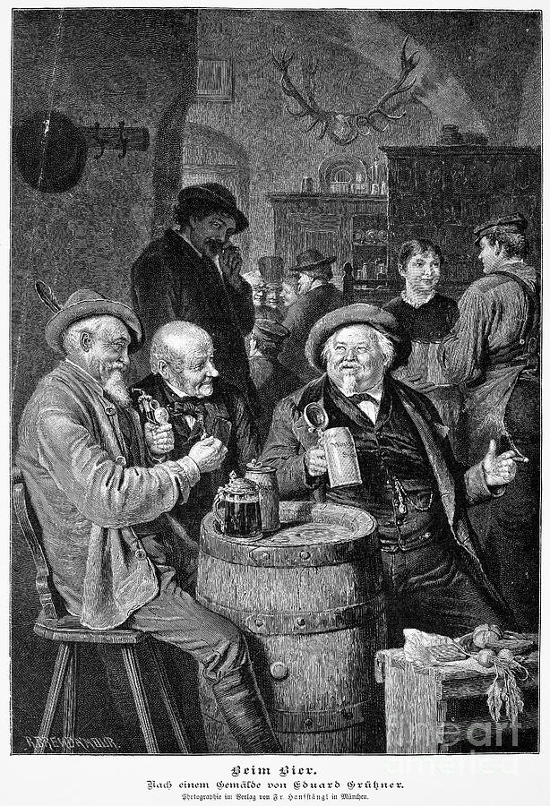 19th Century Photograph - A German Tavern by Granger