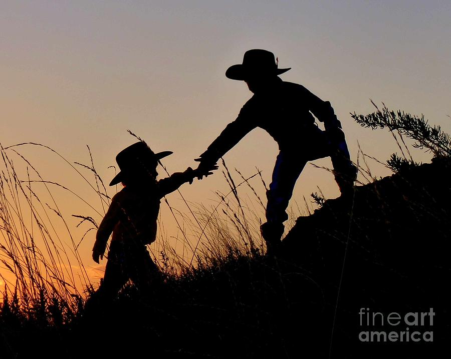 Cowboy Photograph - A Helping Hand by Carla Froshaug