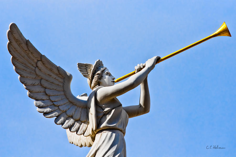 Angel Photograph - A Herald Sounds Off by Christopher Holmes