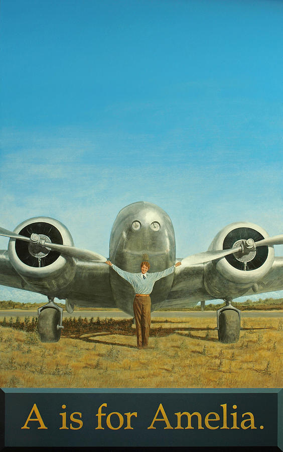 Amelia Earhart Plane Airplane Aviation History Flight Sky Aviator Women Woman Painting - A Is For Amelia by Laurie Stewart