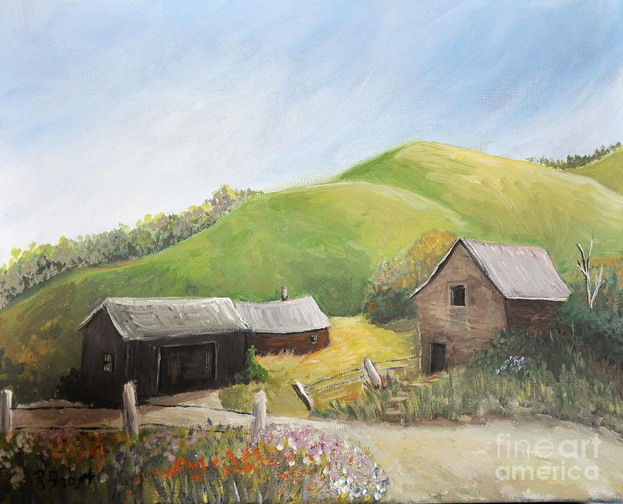 A Little Country Scene Painting By Reb Frost