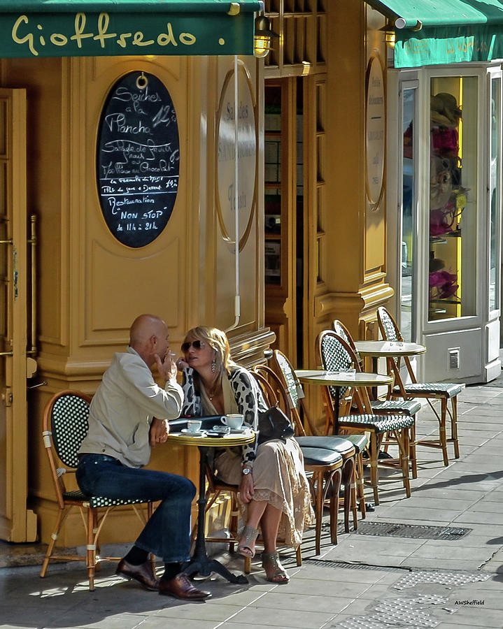 France Photograph - A Man A Woman A French Cafe by Allen Sheffield