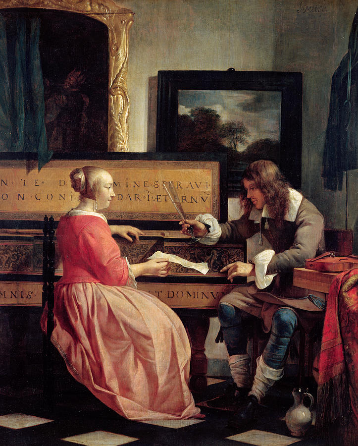 A Man And A Woman Seated By A Virginal Painting
