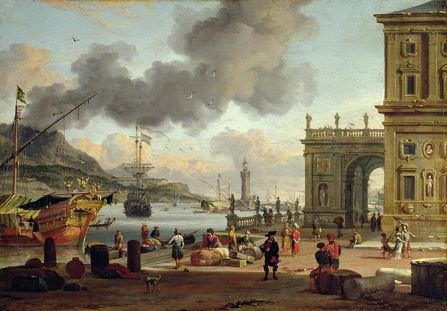 A Mediterranean Harbour Scene Painting