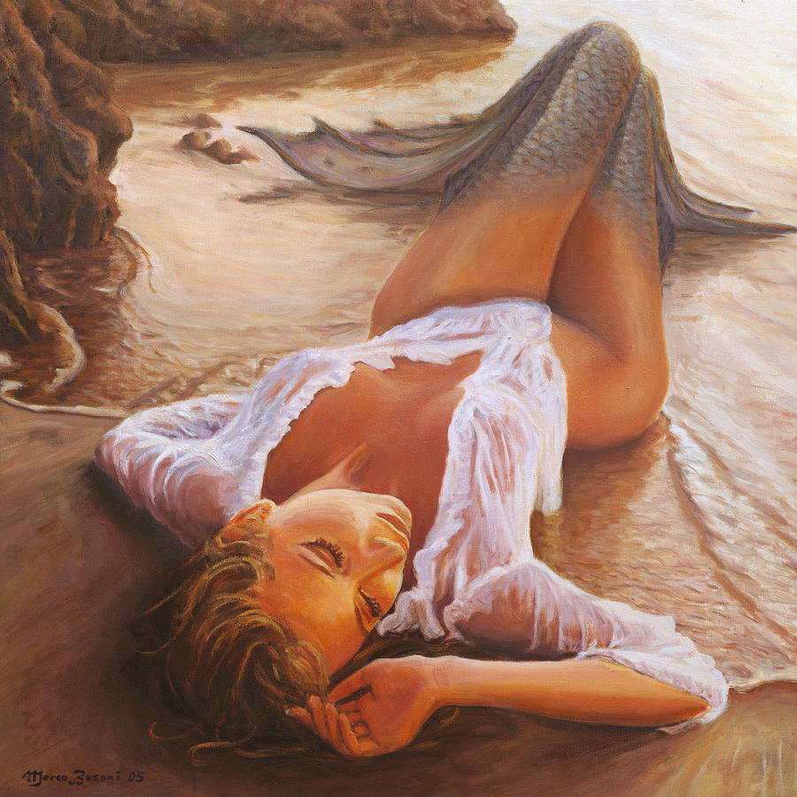 Mermaid Siren Sensual Sunset Sea Water Lady Sexy  Painting - A Mermaid In The Sunset - Love Is Seduction by Marco Busoni