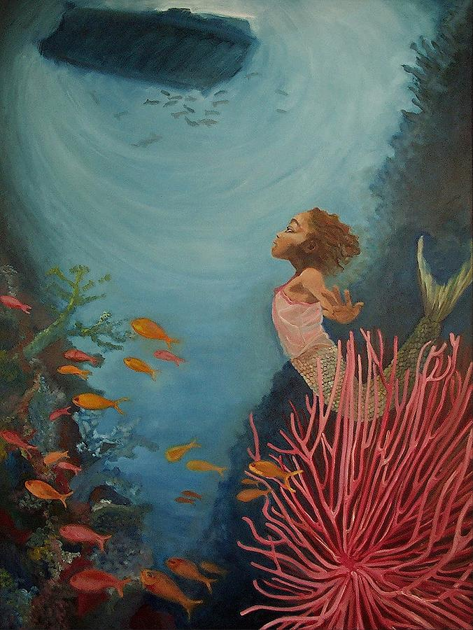 Mermaids Painting - A Mermaids Journey by Amira Najah Whitfield