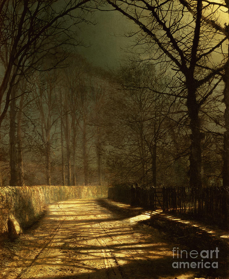 A Moonlit Lane Painting - A Moonlit Lane by John Atkinson Grimshaw
