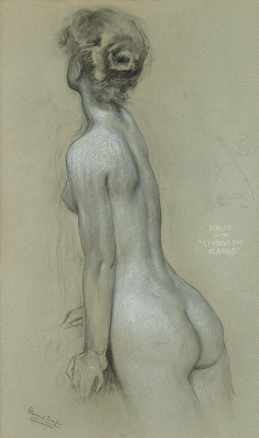 Naiad Drawing - A Naiad In The Lament For Icarus by Herbert James Draper