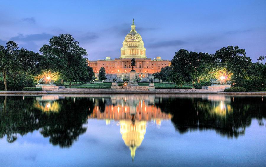 Washington Dc Capitol Capital Us Senate Congress House Of Representatives Dome Patriotic Photograph - A Nation Awakens by JC Findley