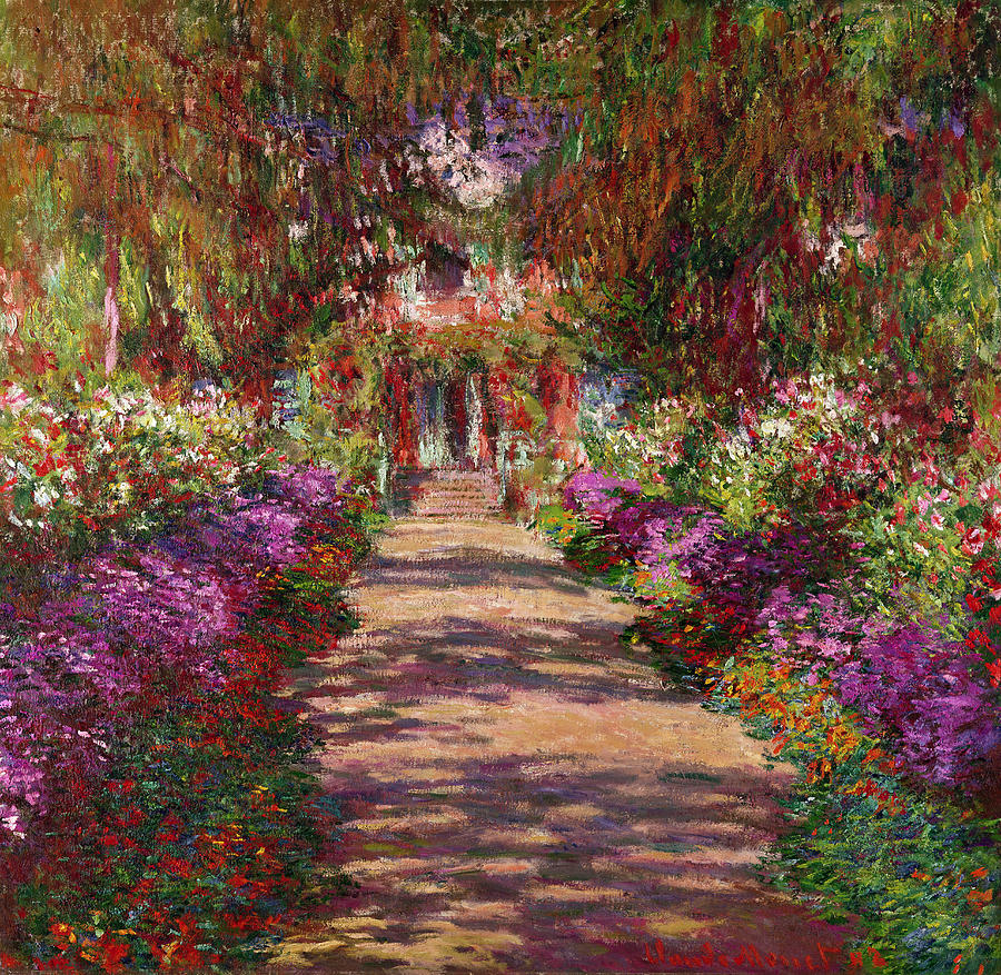 A pathway in monets garden giverny painting by claude monet for Garden painting images