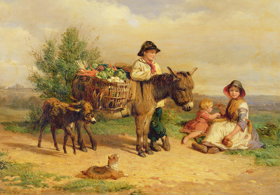 A Pause On The Way To Market Painting - A Pause On The Way To Market by J O Bank