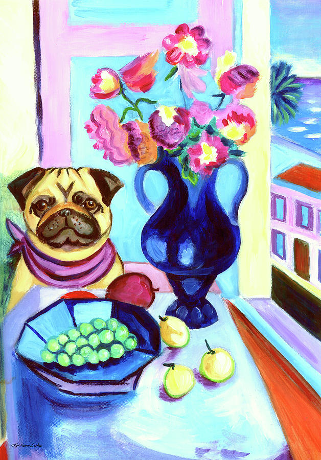 Pug Dog Painting - A Pugs Dinner At Henris - Pug by Lyn Cook