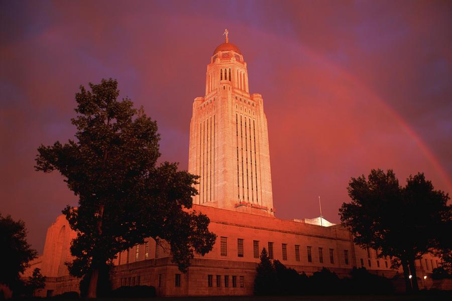 Noboby Photograph - A Rainbow Shines Over The Nebraska by Joel Sartore