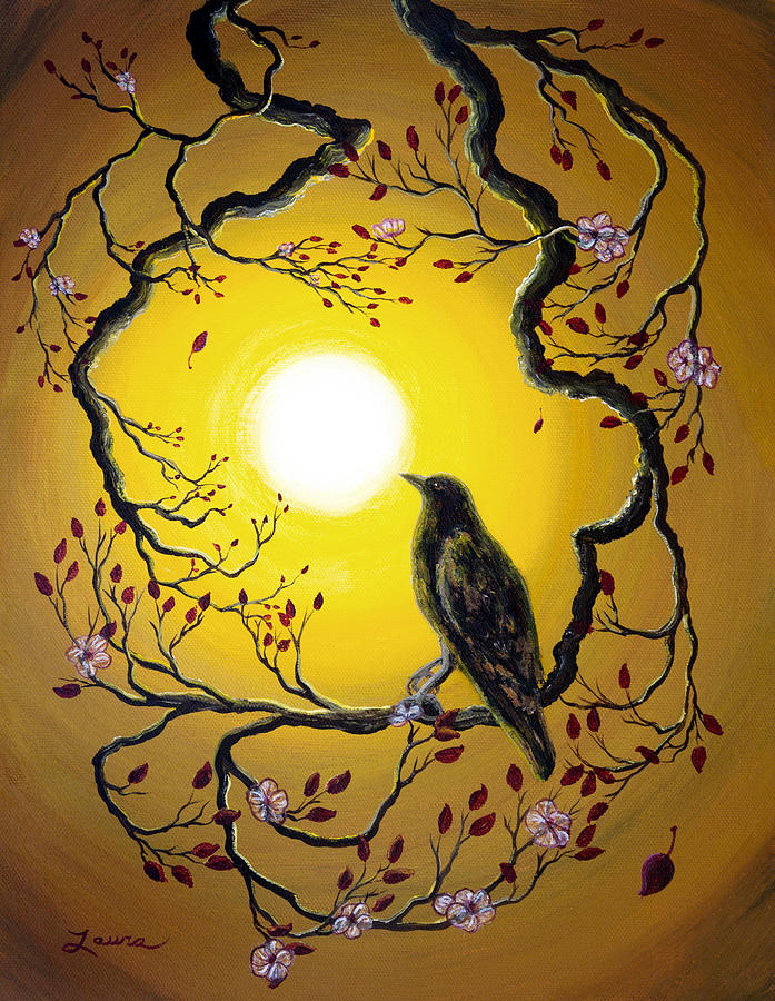 Painting Painting - A Raven Remembers Spring by Laura Iverson