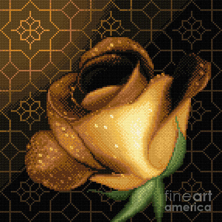 Rose Flower Needlework Cross Stitch Gobelin Yellow Tapestry - Textile - A Rose For You by Stoyanka Ivanova