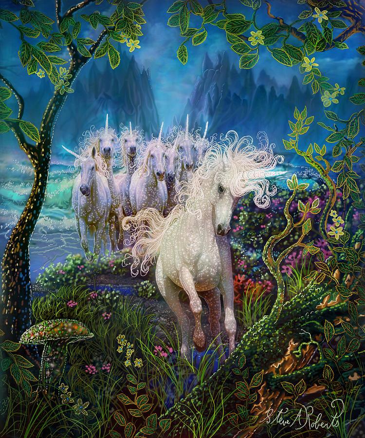 Unicorns Painting - A Run On The Beach by Steve Roberts