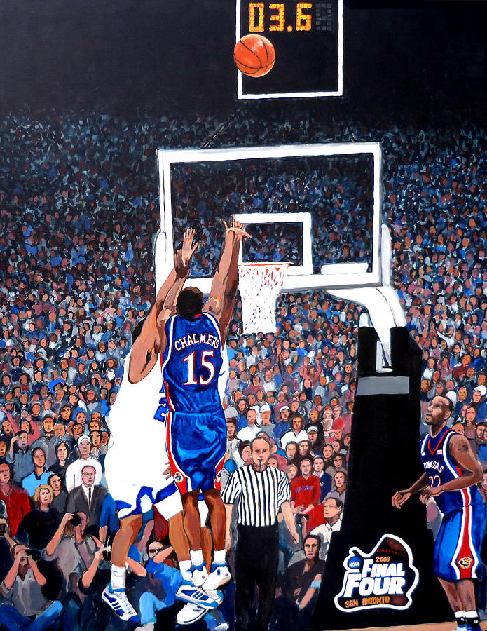 Jayhawks Painting - A Shot To Remember - 2008 National Champions by Tom Roderick