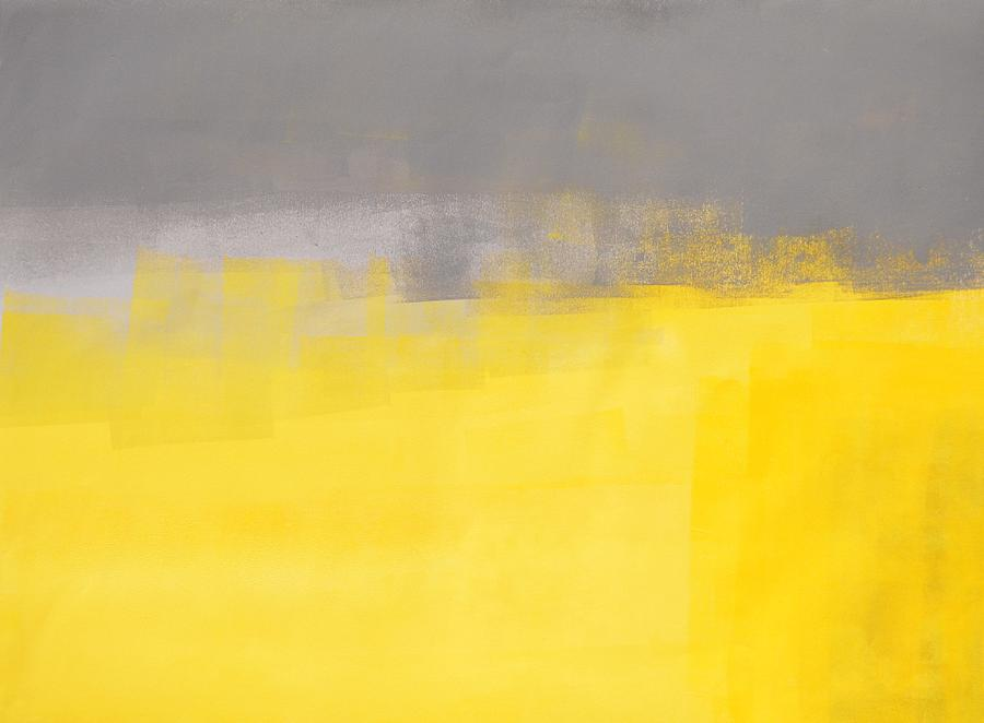 a simple abstract grey and yellow abstract art painting