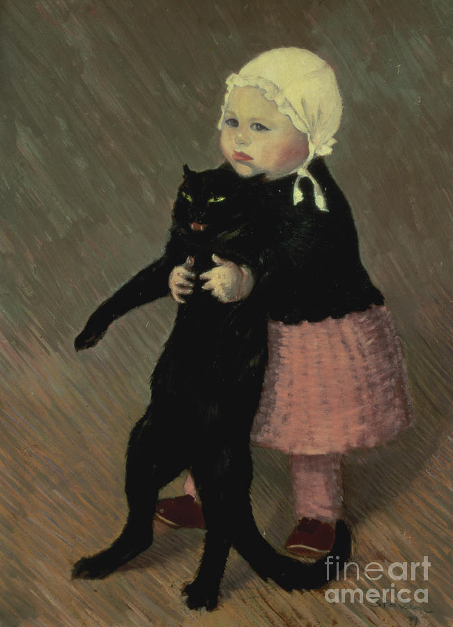 Pet Painting - A Small Girl With A Cat by TA Steinlen