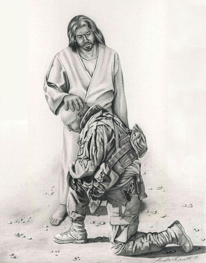 Prayer Drawing - A Soldiers Prayer by Linda Bissett