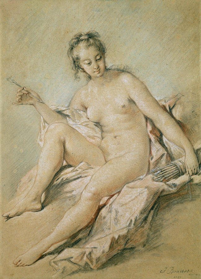 Study Pastel - A Study Of Venus by Francois Boucher