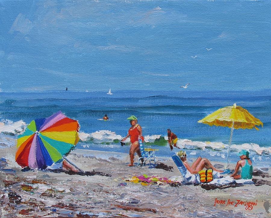 Beach Scene Painting - A Summer by Laura Lee Zanghetti