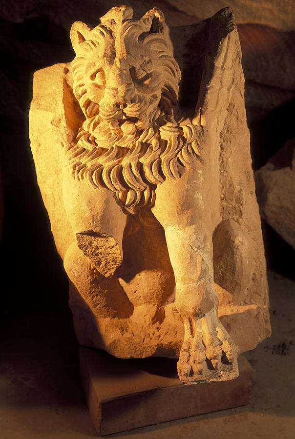 Petra Photograph - A Temple Winged Lion In The Petra by Richard Nowitz