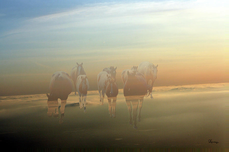 Horses Paint Herd Animals Ranch Farm Colts Quarter Horse Clouds Sky  Photograph - A Touch Of Horse Heaven by Andrea Lawrence