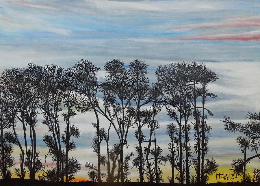 Silhouette Treeline Painting - A Treeline Silhouette by Marilyn  McNish
