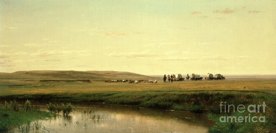 A Wagon Train On The Plains (oil On Board) By Thomas Worthington Whittredge (1820-1910) Painting - A Wagon Train On The Plains by Thomas Worthington Whittredge