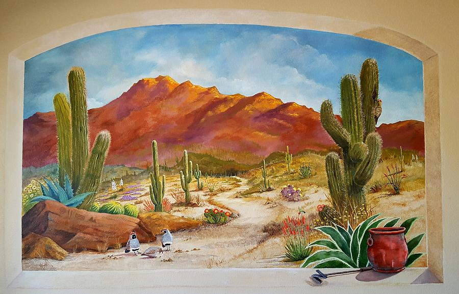 a walk in the desert wall mural painting by marilyn smith