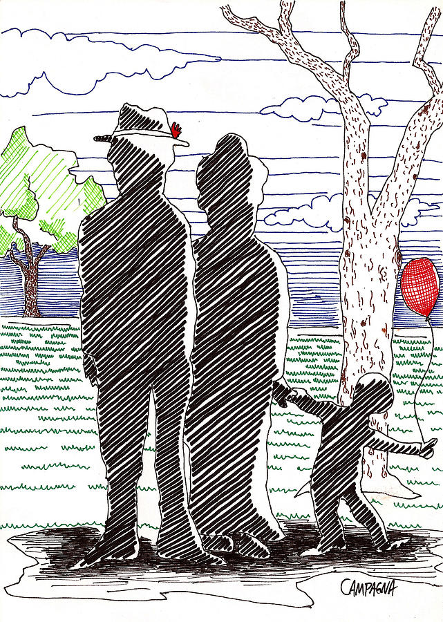 Artist Marker Drawing - A Walk In The Park by Teddy Campagna