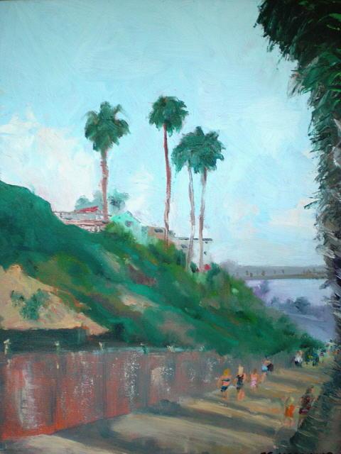 San Clemente Beach Walk Painting - A Walk In The Sun by Bryan Alexander