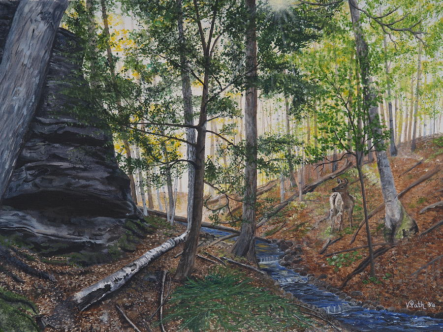Woods Painting - A Walk In The Woods by Vicky Path