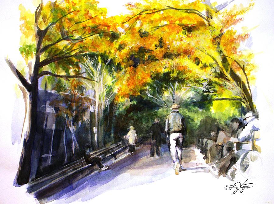 Liz Viztes Painting - A Walk Through The Park by Liz Viztes