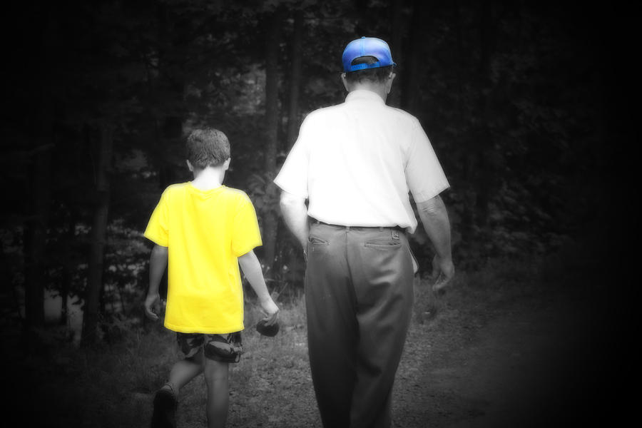 Grandparents Photograph - A Walk With Grandpa by Cathy  Beharriell