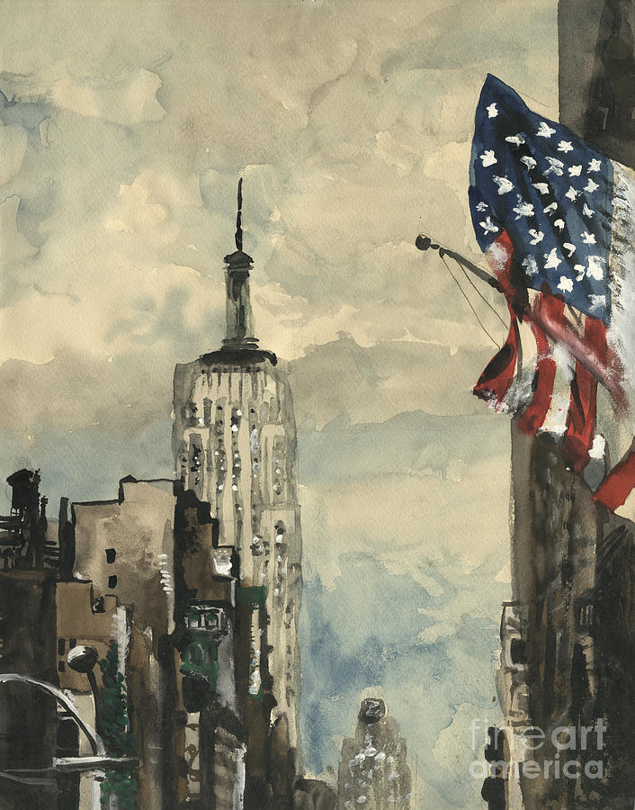 A Watercolor Sketch Of New York Painting