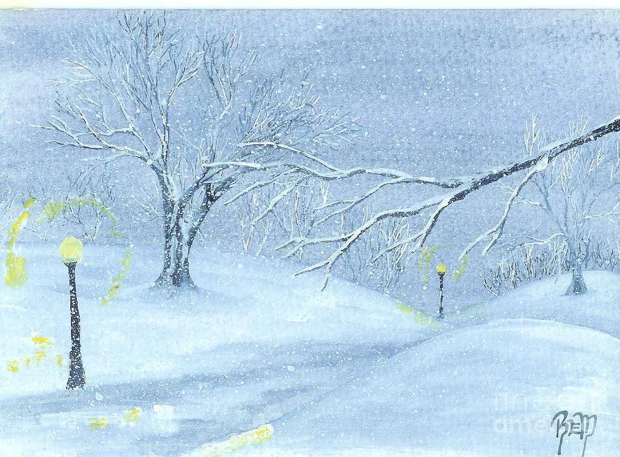 Watercolor Painting - A Winter Walk... by Robert Meszaros