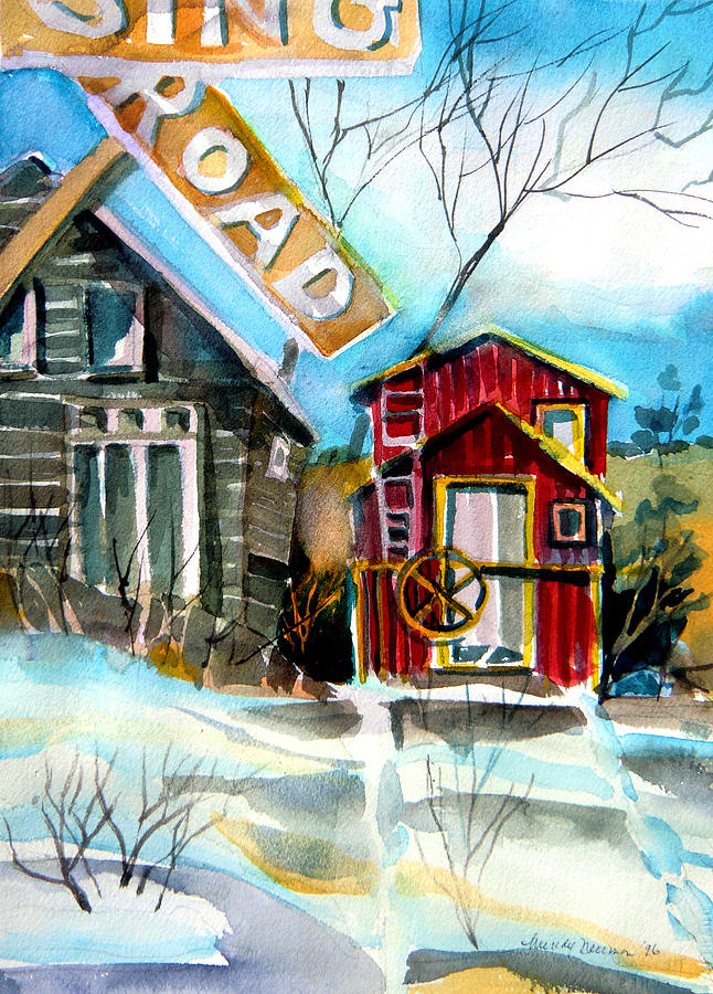 Caboose Painting - Abandoned Caboose by Mindy Newman