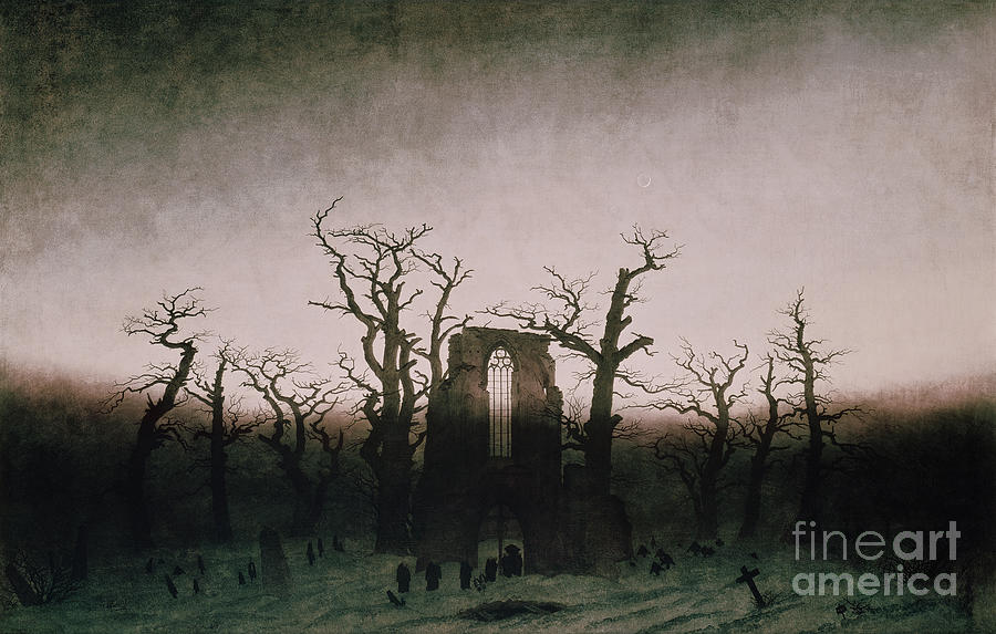 Bal5335 Painting - Abbey In The Oakwood by Caspar David Friedrich