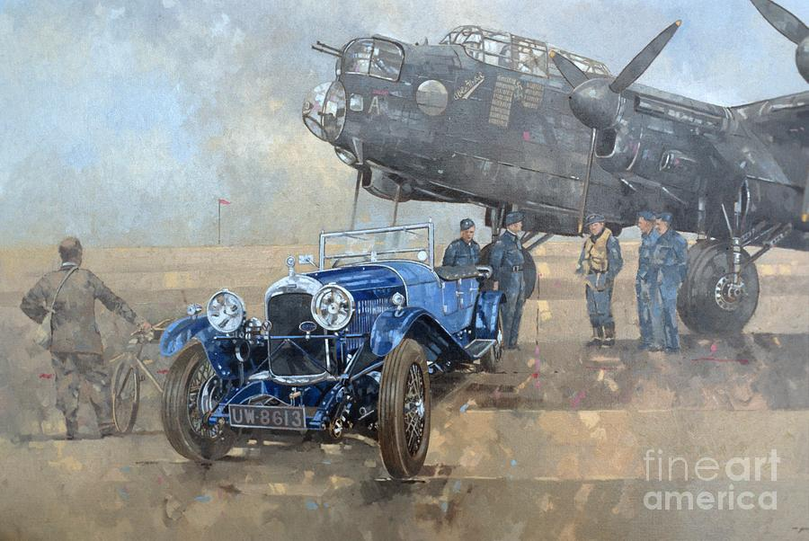 Car; Vehicle; Airplane; Aeroplane; Plane; Military; Air Force; Vintage; Classic Cars; Vintage Car; Nostalgia; Nostalgic; Blue Lagonda Painting - Able Mable And The Blue Lagonda  by Peter Miller