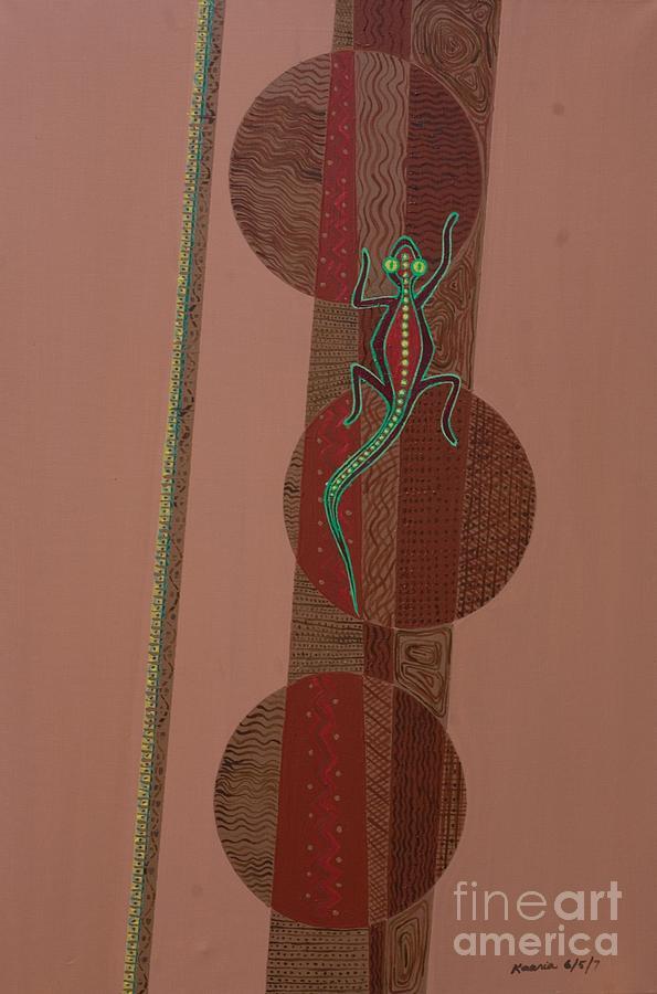 Aboriginal Lizard Painting - Aboriginal Lizard by Kaaria Mucherera