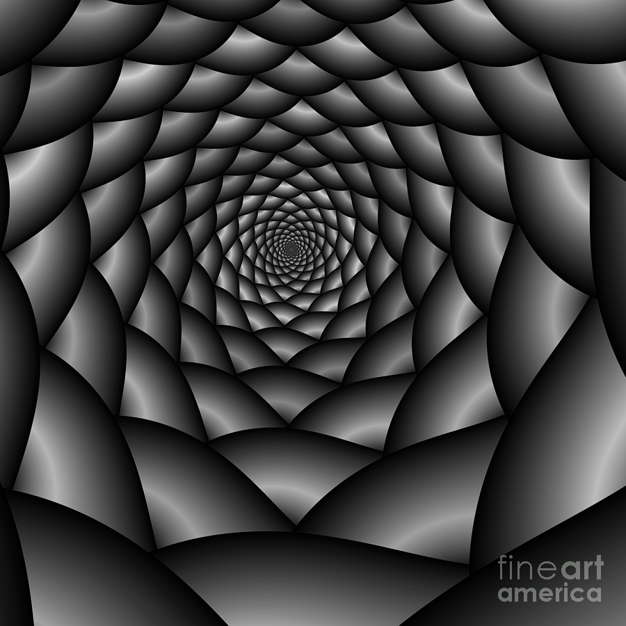 Mathematical Digital Art - Abstract 219 Bw by Rolf Bertram